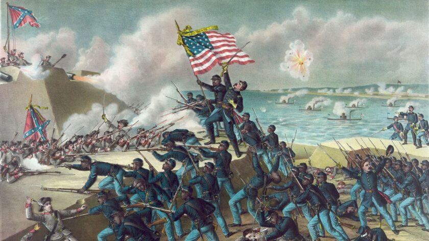 This 1890 artist's rendition by Kurz & Allison depicts a battle between Union and Confederate soldiers at Fort Wagner, Morris Island, S.C. on July 18, 1863.