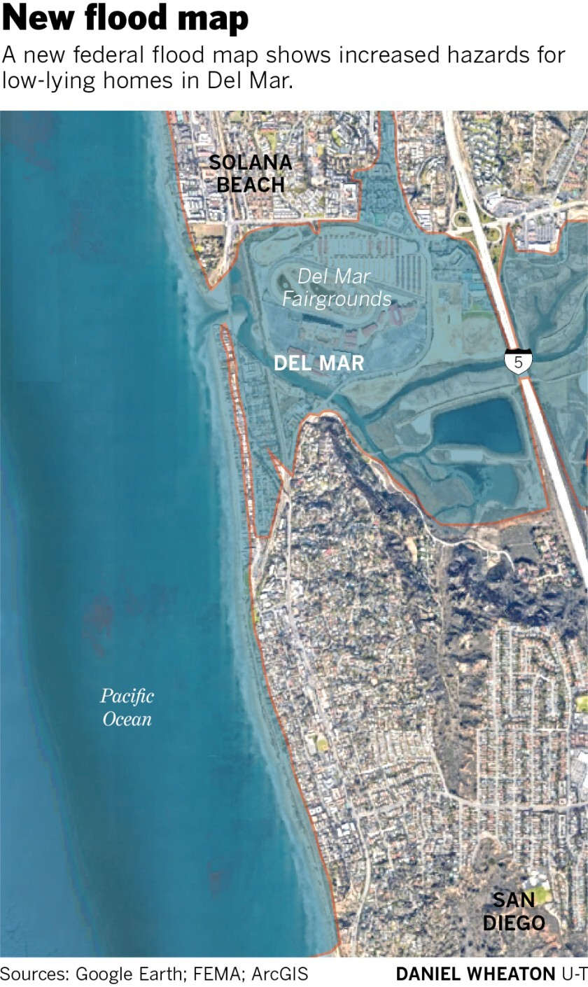 New federal map shows increased danger of flooding in Del Mar - Del on