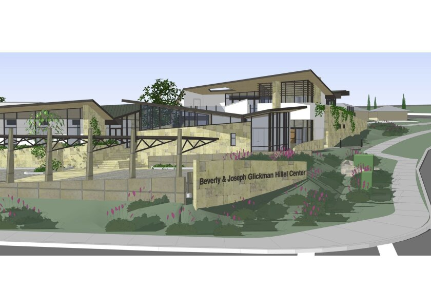An artist rendering of the proposed Beverly and Joseph Glickman Hillel Center to be located on the corner of Torrey Pines Road at La Jolla Village Drive, across from the UC San Diego campus.