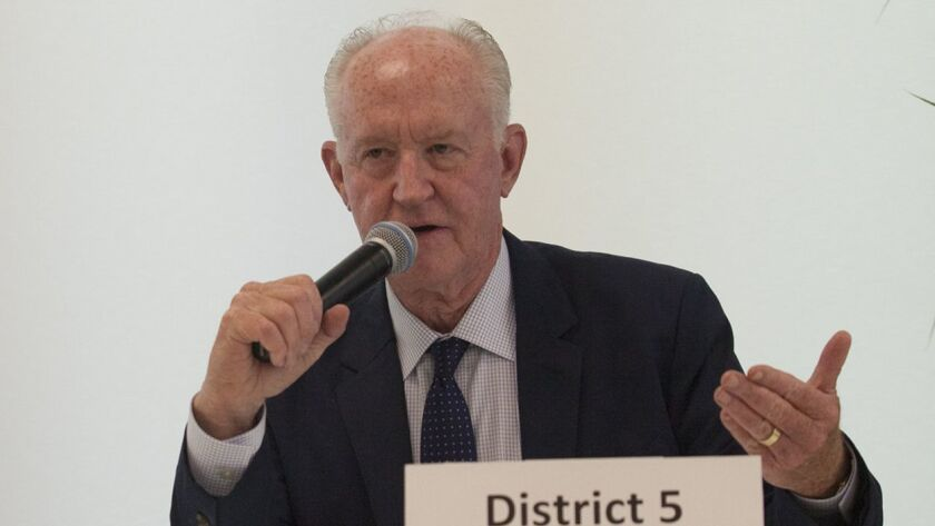 Jeff Herdman speaks during a Newport Beach City Council candidate forum in 2016.