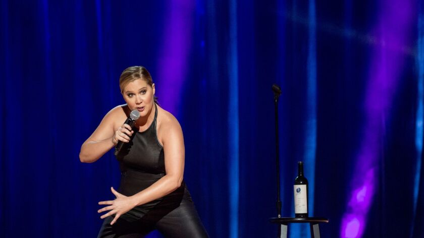 "Amy Schumer in performance during her ""Amy Schumer: The Leather Special"" on Netflix."