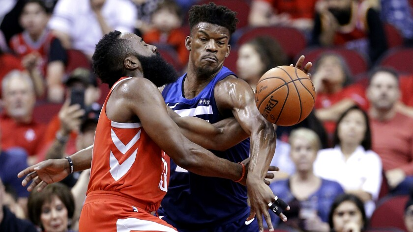 reputable site 33547 da7ae NBA: Timberwolves fall to Rockets after Jimmy Butler is ...