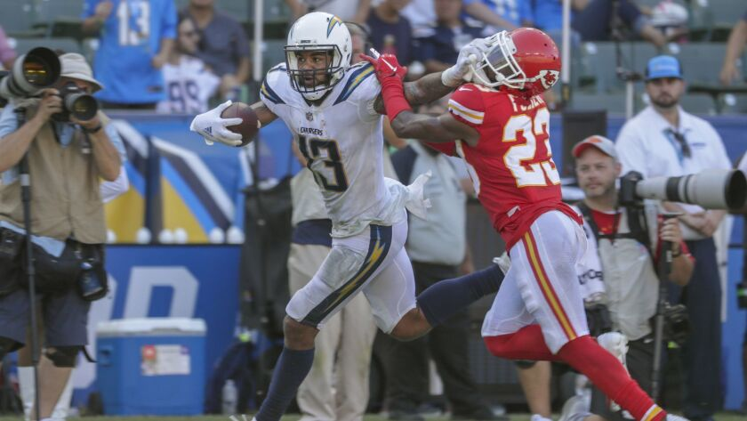 CARSON, CA, SUNDAY, SEPTEMBER 9, 2018 - Chargers receiver Keenan Allen stiff arms Chiefs defensive b