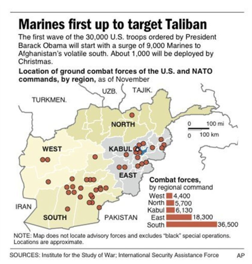 Graphic shows location of ground combat forces in Afghanistan, by regional command