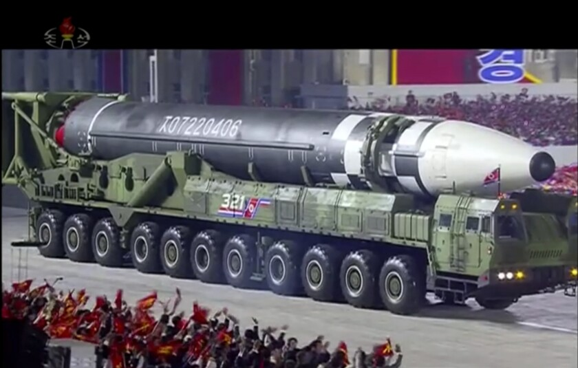 Possible new intercontinental ballistic missile shown at North Korea military parade