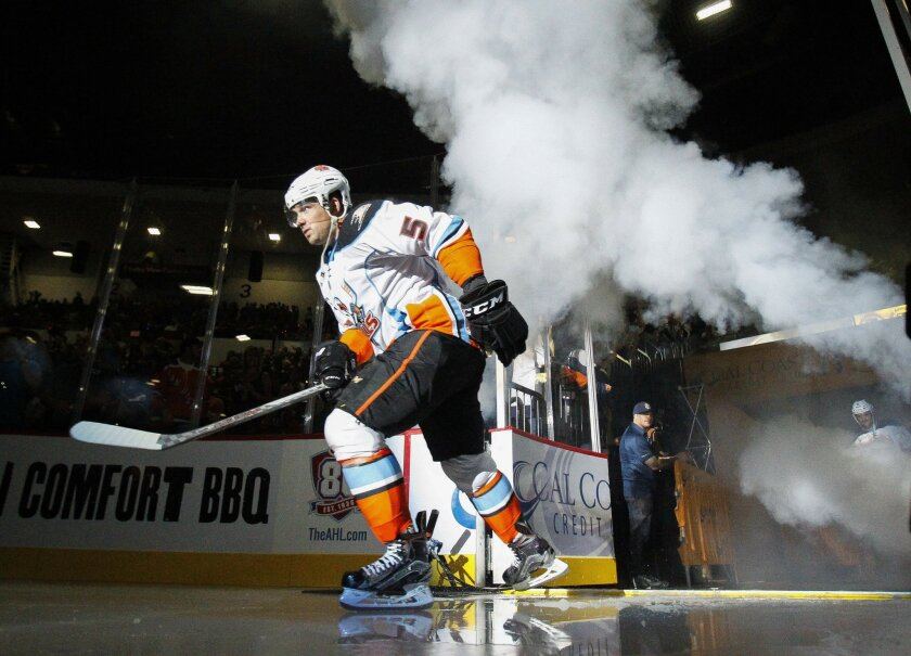 The Gulls' Shane O'Brien is introduced to the crowd before the San Diego Gulls' home opener against Grand Rapids in San Diego on Saturday.