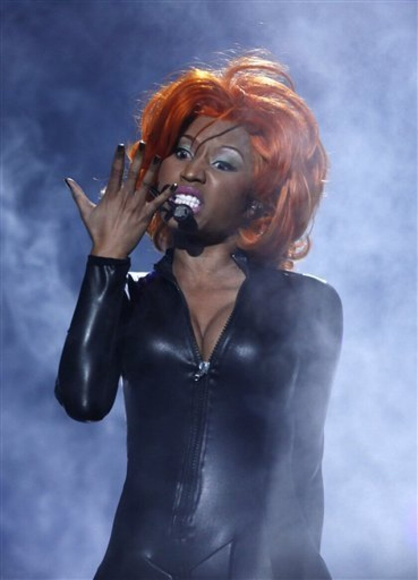 FILE - In this June 27, 2010 file photo, Nicki Minaj performs at the BET Awards in Los Angeles. (AP Photo/Matt Sayles, file)