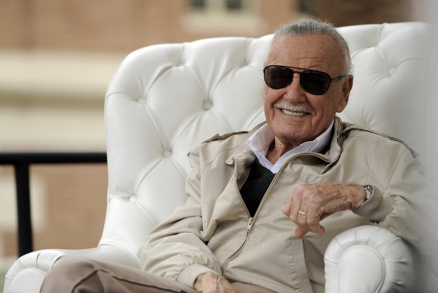 Comic book icon Stan Lee has a relaxed chat during the 2016 Festival of Books in Los Angeles.