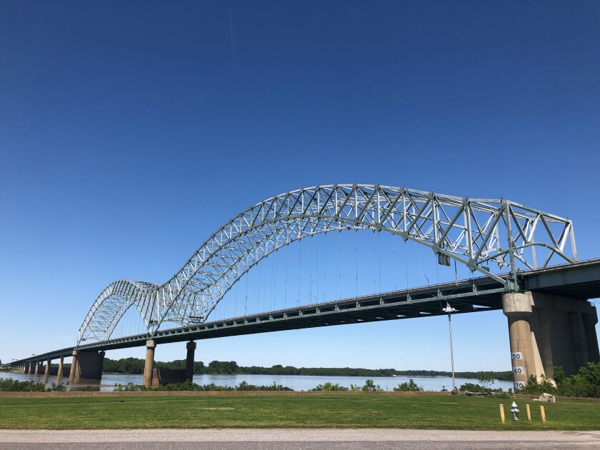 This photo shows the Interstate 40 Bridge linking Tennessee and Arkansas on Friday, May 14, 2021, in Memphis, Tenn. The bridge has been closed since a crack in the span was found on May 11. Arkansas transportation officials said Tuesday, May 18 that an inspector who failed to discover the crack has been fired. (Adrian Sainz/Chattanooga Times Free Press via AP)