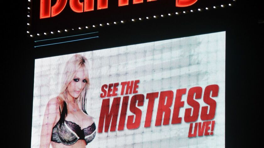 Little Darlings strip club in Las Vegas advertised a Jan. 25 show by porn actress Stormy Daniels on its marquee.