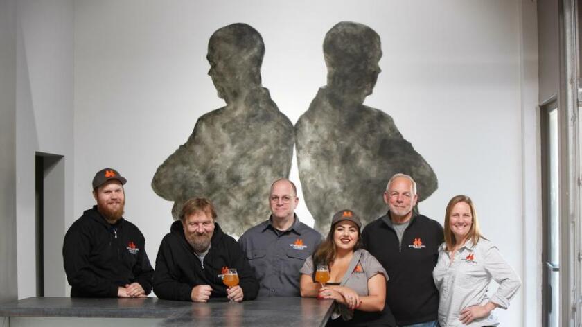 The brew team at Bitter Brothers includes John Hunter (left), Bruce McSurdy, Kurt Warnke, Delanie Koken, Bill Warnke and Monica Andresen. (Scott Linnett)