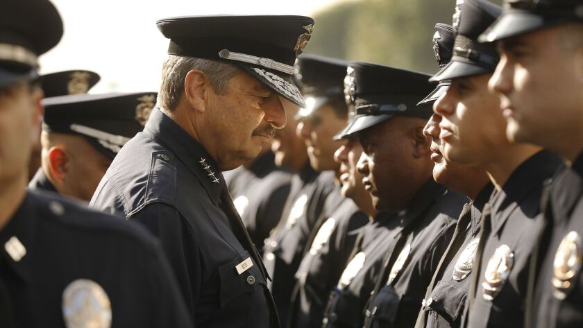 LOS ANGELES, CA – May 7, 2018: LAPD Chief Charlie Beck conducting his last formal inspection as L