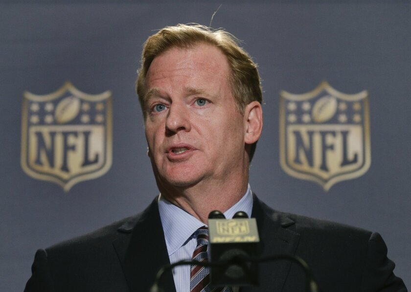 FILE - In this Oct. 7, 2015, file photo, NFL Commissioner Roger Goodell speaks during a news conference at the conclusion of the league's fall meetings, in New York.  Roger Goodell earned just over $34 million for 2014, according to the league's tax filing released Tuesday, Feb. 16, 2016. (AP Photo