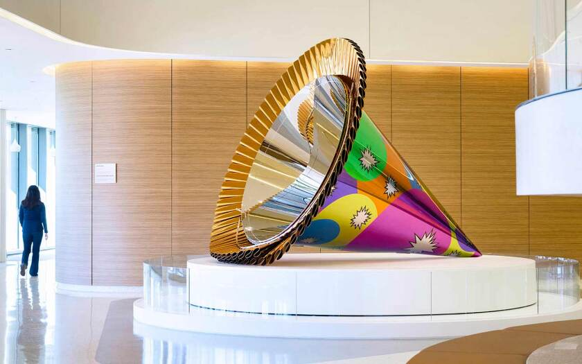 """Jeff Koons' """"Party Hat (Orange)"""" has been installed in the main lobby at UCSD Health's Jacobs Medical Center in La Jolla."""