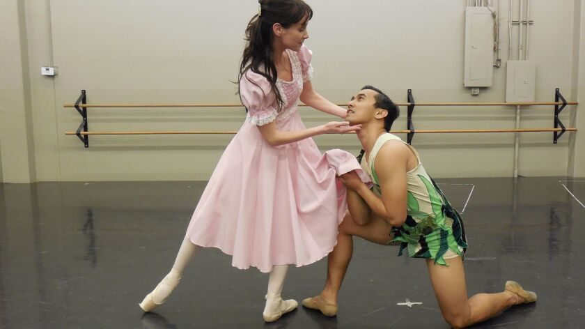 """Reka Gyulai is Wendy and Jeremy Zapanta is Peter in the California Ballet production of """"Peter Pan."""""""