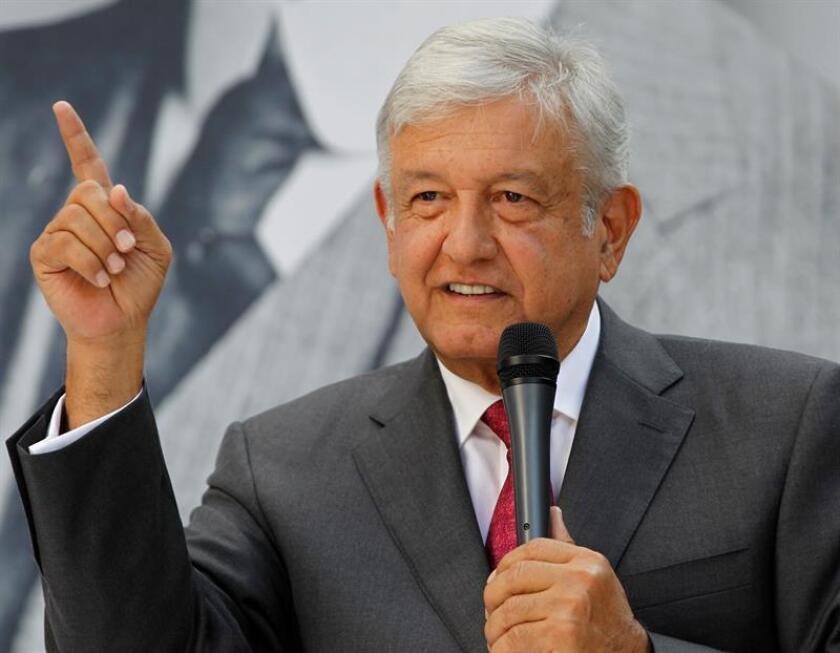 Mexican President-elect Andres Manuel Lopez Obrador delivers a press conference in Mexico City, Mexico, Nov. 9, 2018. EPA-EFE/Mario Guzman