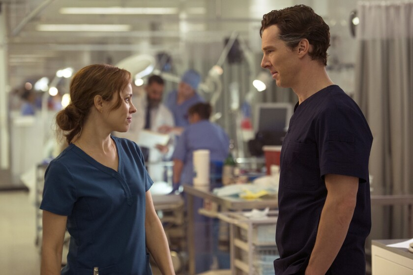 """Rachel McAdams, left, is Christine Palmer and Benedict Cumberbatch is the titular character in """"Doctor Strange."""""""