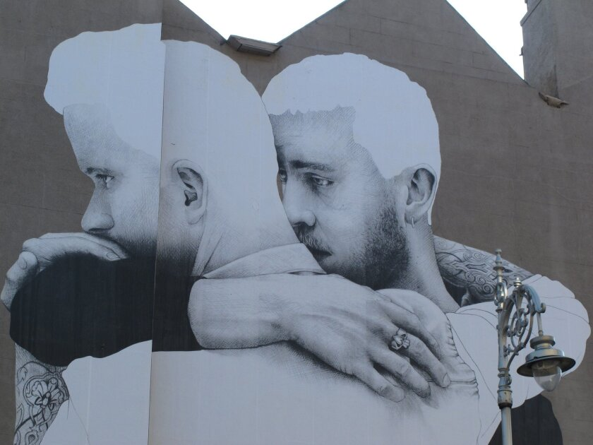 A gay rights mural adorns the side of a building in Dublin, Ireland. The country is holding the world's first national referendum on same-sex marriage on May 22.