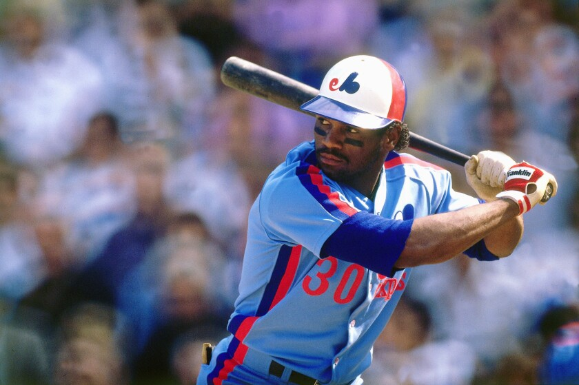 Tim Raines bats for the Montreal Expos in September 1989.