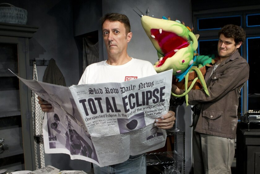 """Director Sean Murray senses botanical menace at the hands of Brandon Joel Maier (who plays Seymour in Cygnet Theatre's """"Little Shop of Horrors"""") not to mention the teeth of the carnivorous flower Audrey II. Various-sized puppets stand in for Audrey II in the film-noir-inspired production by Murray,"""