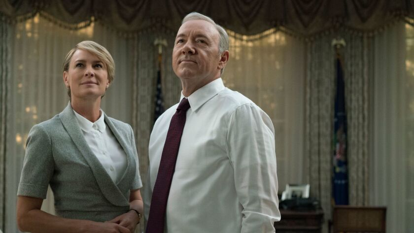 "Robin Wright as Claire and Kevin Spacey as Frank Underwood in the Netflix series ""House Of Cards."" D"