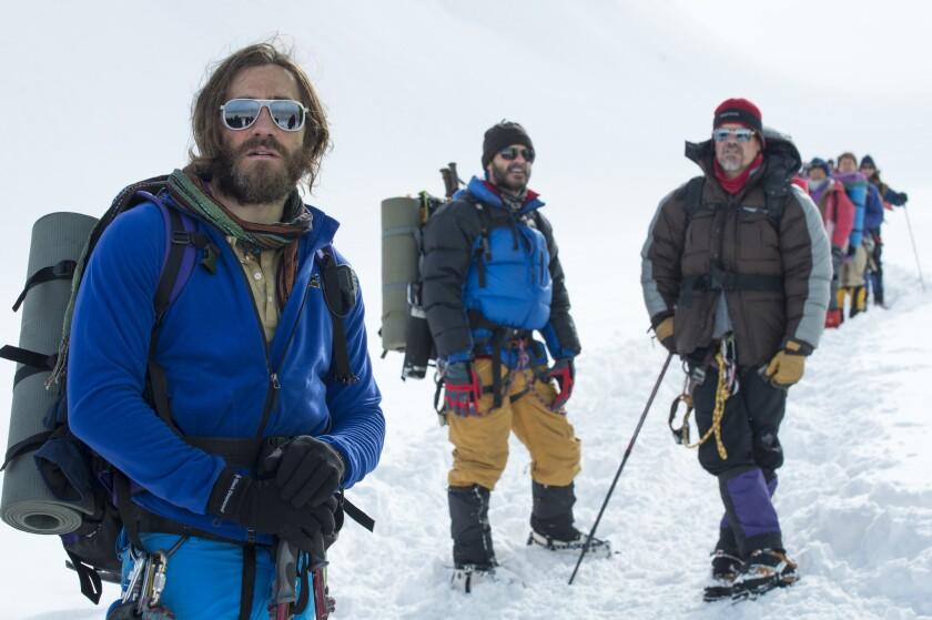 "Jake Gyllenhaal, left, Michael Kelly and Josh Brolin in ""Everest."""