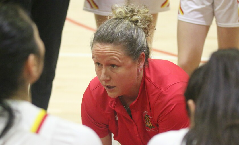 Jackie Turpin, head coach of Cathedral Catholic's 2020 CIF Open Division runner-up girls' basketball team.