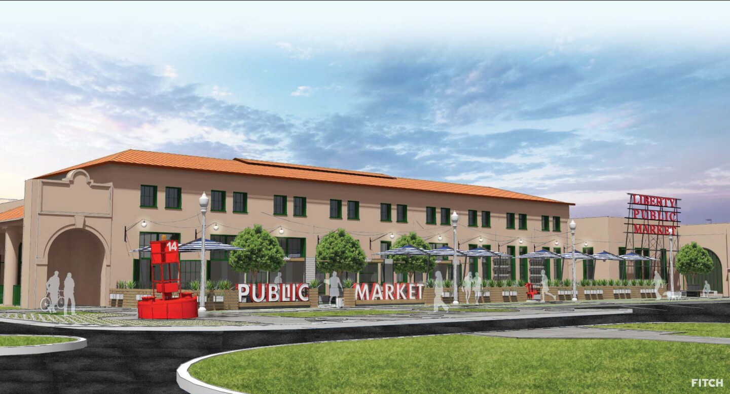 Liberty Public Market, depicted in a rendering, will be housed in a 1920s warehouse at 2816 Historic Decatur Rd. at Liberty Station in San Diego.