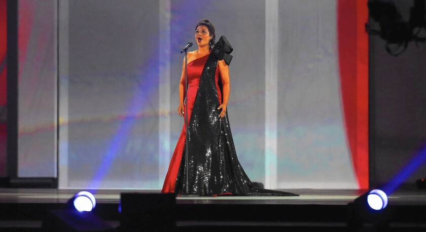 Isabel Bayrakdarian sings the Canadian national anthem during the closing ceremonies of the 2015 Toronto Pan Am Games at Rogers Centre in Toronto in July.