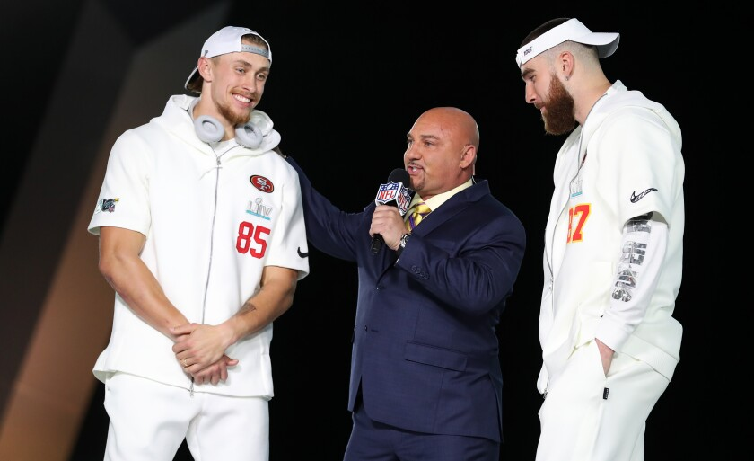 San Francisco 49ers tight end George Kittle, left, and Kansas City Chiefs tight end Travis Kelce speak with Fox Sports' Jay Glazer.