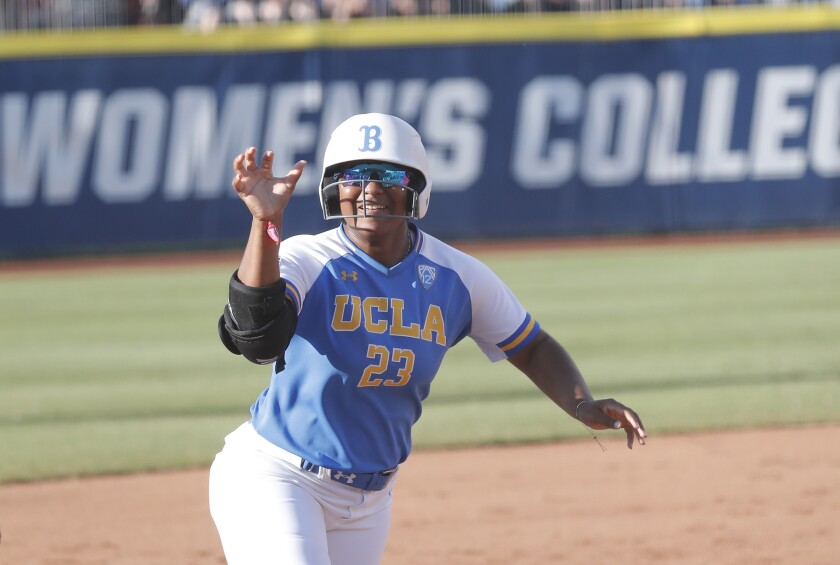 Aaliyah Jordan hit .571 with three home runs for the Bruins in the College World Series.