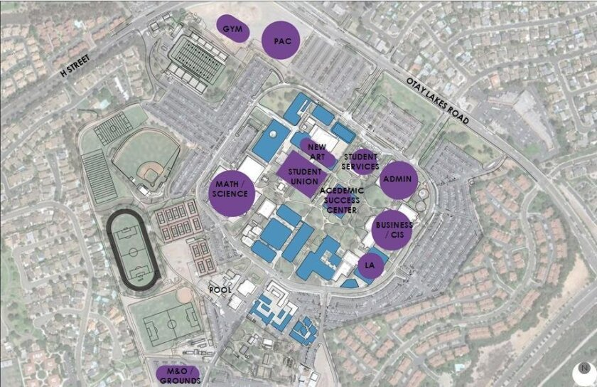Conceptual plan for Southwestern College campus facilities.