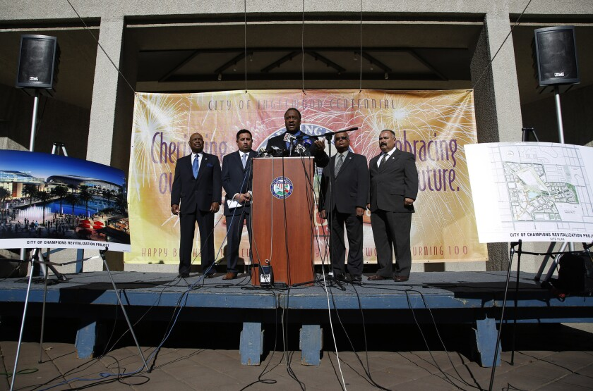 Inglewood Mayor James T. Butts holds a news conference at City Hall to discuss a new proposal to incorporate an 80,000-seat sports stadium in expansion of a development project at Hollywood Park.