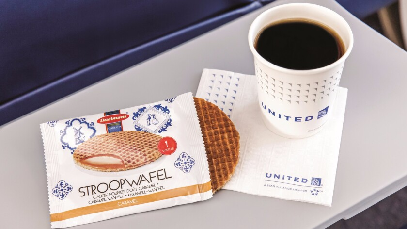 In February, United Airlines began to offer complimentary stroopwafels to coach passengers on some flights.