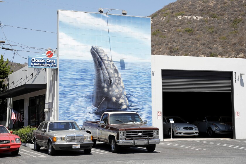 The 450-square-foot gray whale mural by artist Robert Wyland.