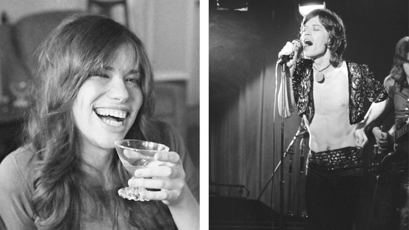 IN THIS TWO PHOTO COMBO, with Carly Simon, left, and Mick Jagger at right. It is revealed Wednesday