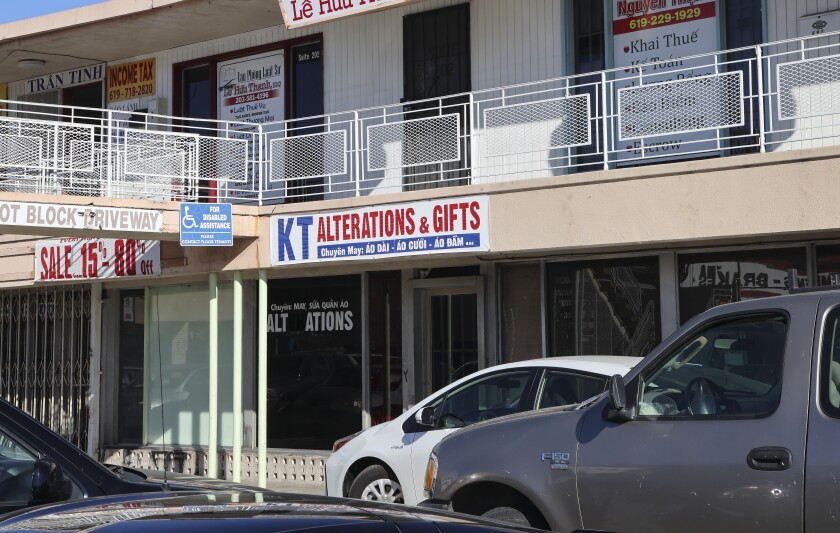 KT Alterations & Gifts, located in a strip mall on El Cajon Boulevard and 48th Street