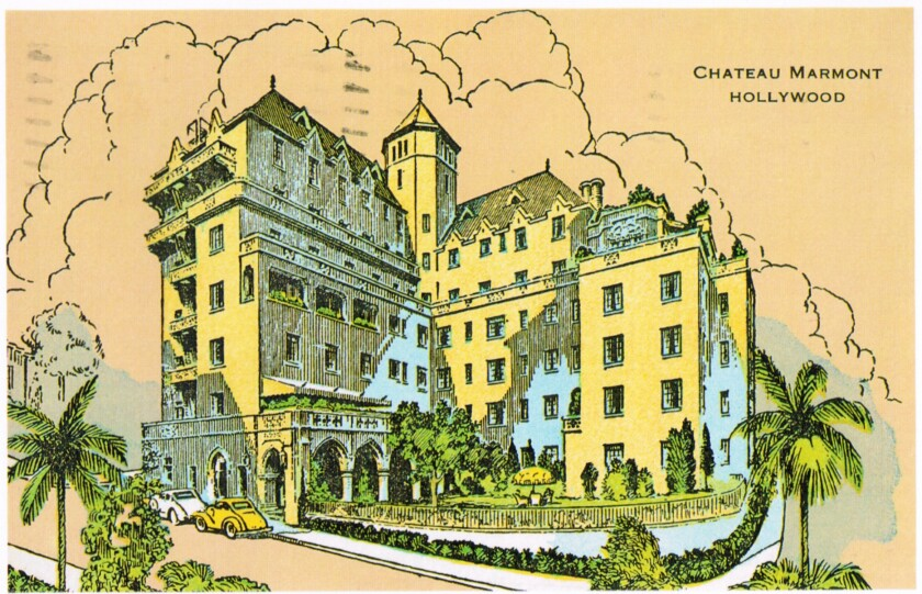"""A classic postcard image from the Chateau Marmont.  Photo from """"The Castle on Sunset"""" by Shawn Levy."""