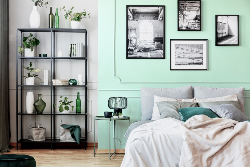 Minty Fresh by Dunn-Edwards used on a gallery wall.