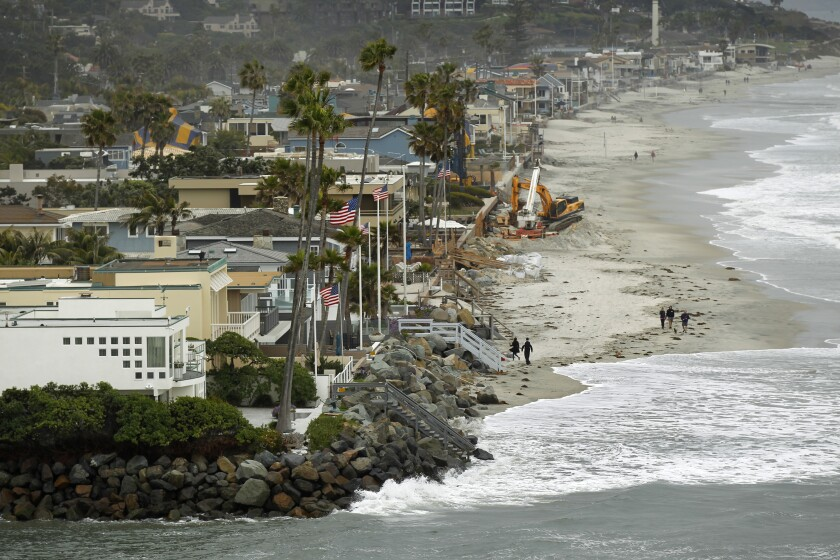 The Pacific Ocean pounds the coastline in Del Mar during a winter storm in 2010.