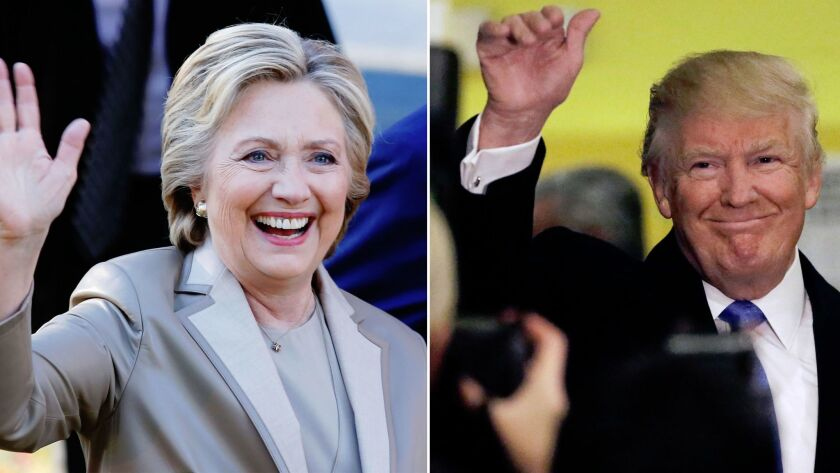 Left: Hillary Clinton greets supporters after casting her vote in Chappaqua, NY. Right: Donald Trump waves to reporters after voting at Public School 59 in New York City.