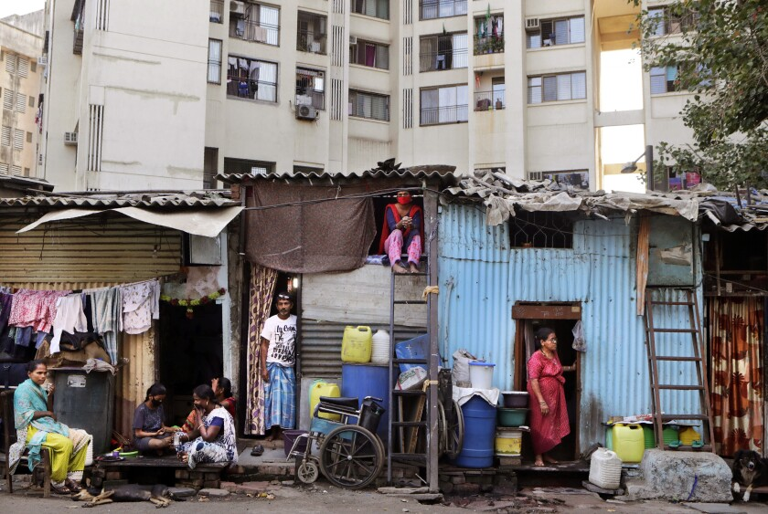 People in Mumbai, India, during lockdown