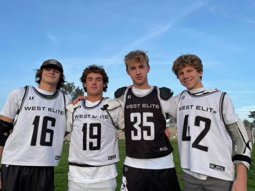 La Jolla players on the Mad Dog West Elite team are (from left): Madden Craig, Nick Marvin, Dane Jorgensen and Brooks Rodger.
