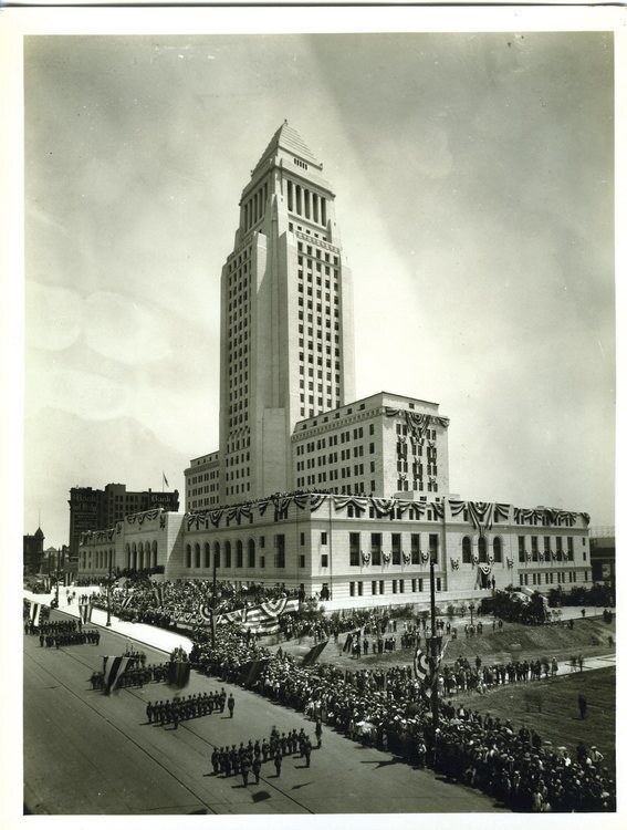 """Dedication ceremonies on May 6, 1928, for Los Angeles City Hall, built during Mayor George Cryer's administration. According to """"Noir Afloat"""" by Ernest Marquez, crime rates skyrocketed in Los Angeles during the 1920s due to the workings of a group known as the Big Five or Spring Street Gang."""