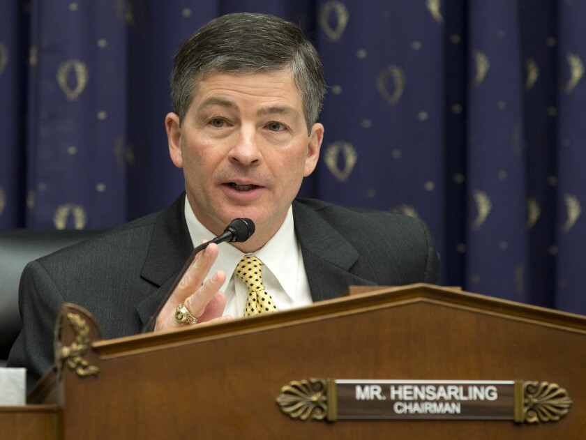 House Financial Service Committee Chairman Rep. Jeb Hensarling (R-Texas) speaks on Capitol Hill in Washington in 2013.