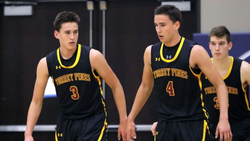 Torrey Pines twins Michael Pope (left) and Bryce Pope are known to be each other's toughest critics on the basketball court.