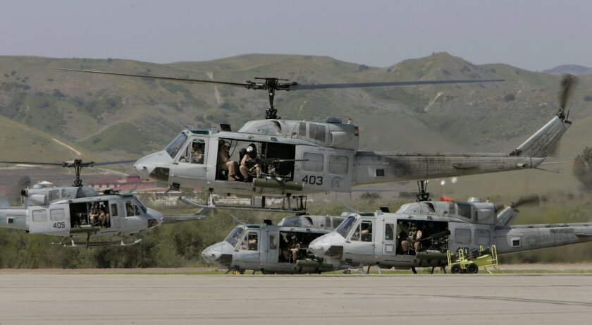 The helicopters take off from the base's air station to go down to Miramar Marine Corps Air Station and return.