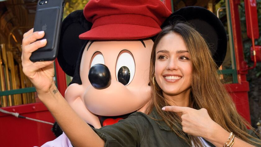ANAHEIM, CA - MARCH 31: In this handout photo provided by Disney Parks, Actress Jessica Alba takes a