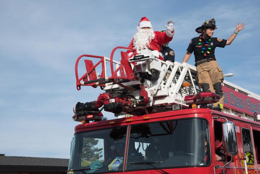 Santa Claus arrives, courtesy of San Diego Fire & Rescue Department