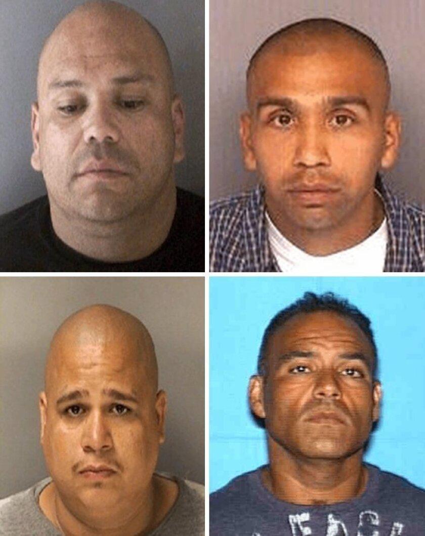 Four men still being sought  are (top left clockwise) David Garcia,  43; Lance Agundez, 38; Jorge Lerma-Duenas, 40; and Ernest Soqui, 32